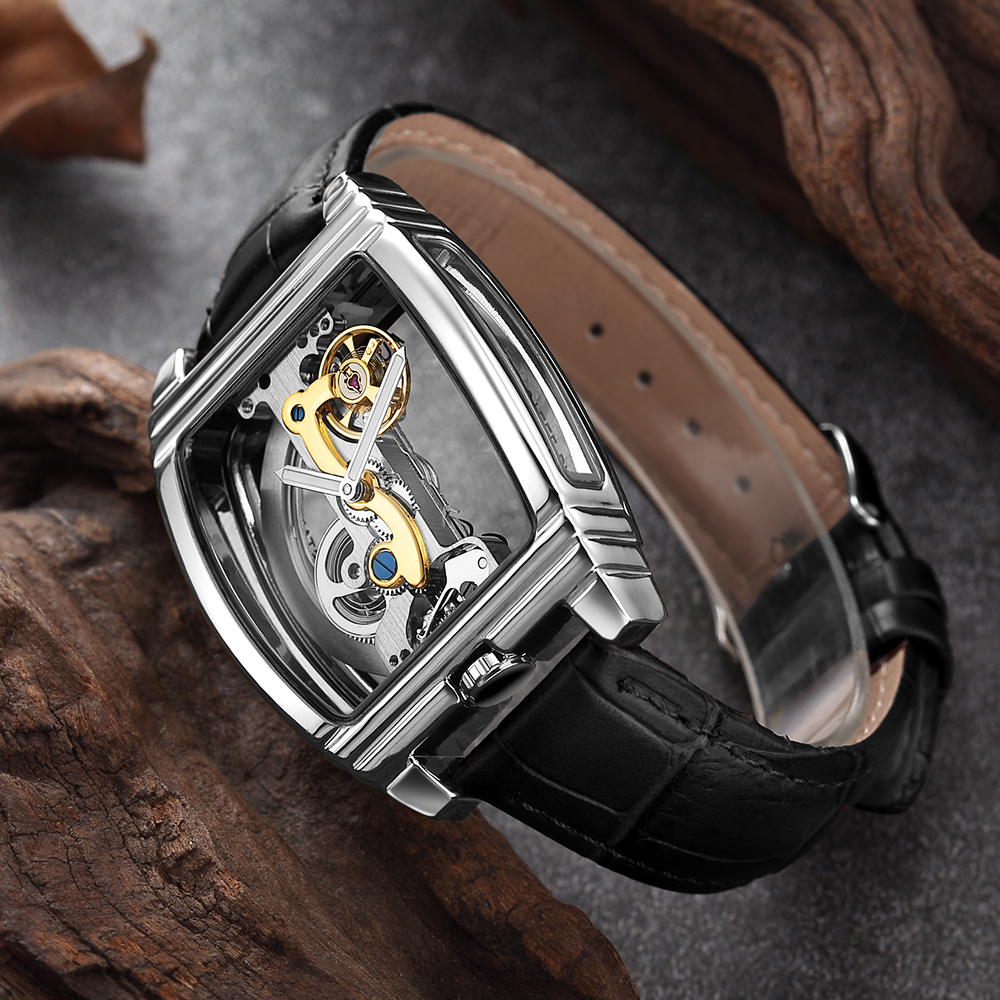 Mens Fashion Transparent Watch Automatic Mechanical Watch Men Leather Strap Top Brand Steampunk Self Winding Watch montre homme