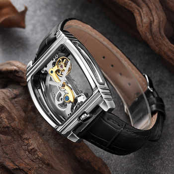 Mens Fashion Transparent Watch Automatic Mechanical Watch Men Leather Strap Top Brand Steampunk Self Winding Watch montre homme - DISCOUNT ITEM  48% OFF All Category