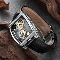 Moda męska przezroczysty zegarek automatyczny zegarek mechaniczny mężczyźni skóra z paskami na górze marka Steampunk własny nakręcany zegarek montre homme