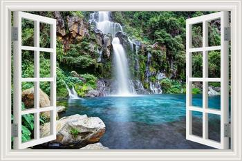 3D Effect Window View WALL STICKERS Mountain Waterfall Frame Vinyl Decal Decor Mural Kitchen Bathroom motorbike wall art 1