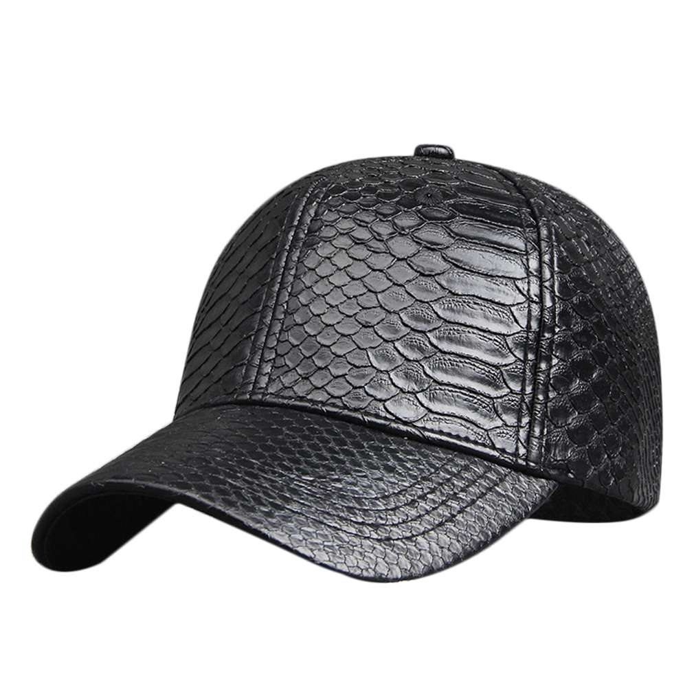 e0ae773094db3 Snake Skin Pattern Unisex Cool High End PU Leather Adjustable Safety Buckle Baseball  Cap Men Women Fashion Fitted Hip Hop Hats-in Men's Baseball Caps from ...