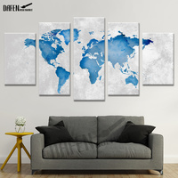 HD Canvas Painting Wall Artwork Colourful Map Modern Picture Printed Poster 5 Panel for Living Room Bathroom Home Decorative