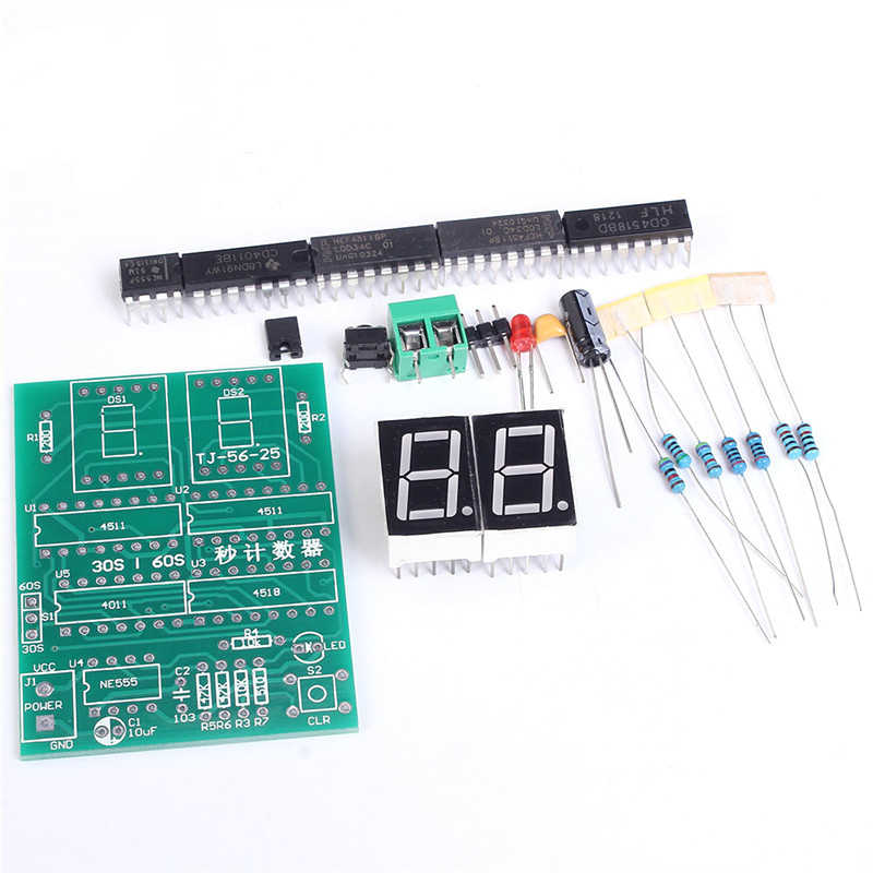 30 to 60 Seconds Counter Suite DIY Kits 2 Digit 30-60s Timer Simple  Stopwatch Digital Electronic Practical Training Timer Part