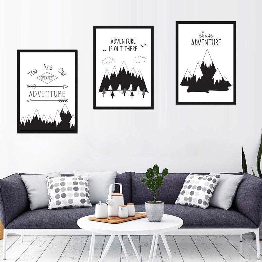Вы наши величайшее приключение кавычки дерево черный, белый цвет A4 Книги по искусству Принт плакат, панно Гостиная холст картины декор