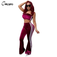 CWLSP S 2XL Velvet Women Casual Tracksuits Side Striped Black Two Piece Sets 2018 Short Tops