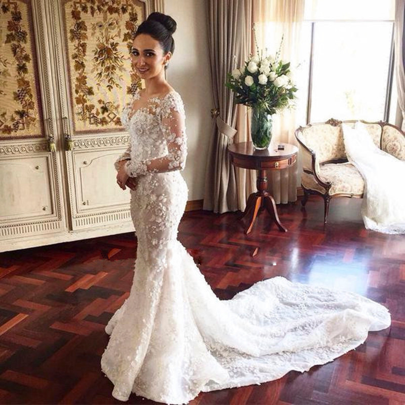 45430c37664 Romantic Mermaid Gown Long Sleeves Appliques Lace Flowers Western Style  Floor Length Wedding Party Dress Plus Size