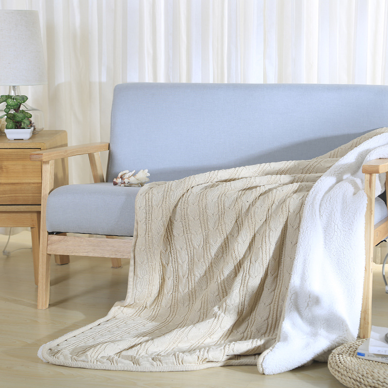 100% Cotton Solid Knitted Blankets Lambskin Throw Blanket bedding on the Bed Sofa Bed Plane Travel Plaids Bedding Set 120X180cm  free shipping h letter blanket brand designer home blankets wool cashmere car travel portable blankets throw bed 158x138cm size
