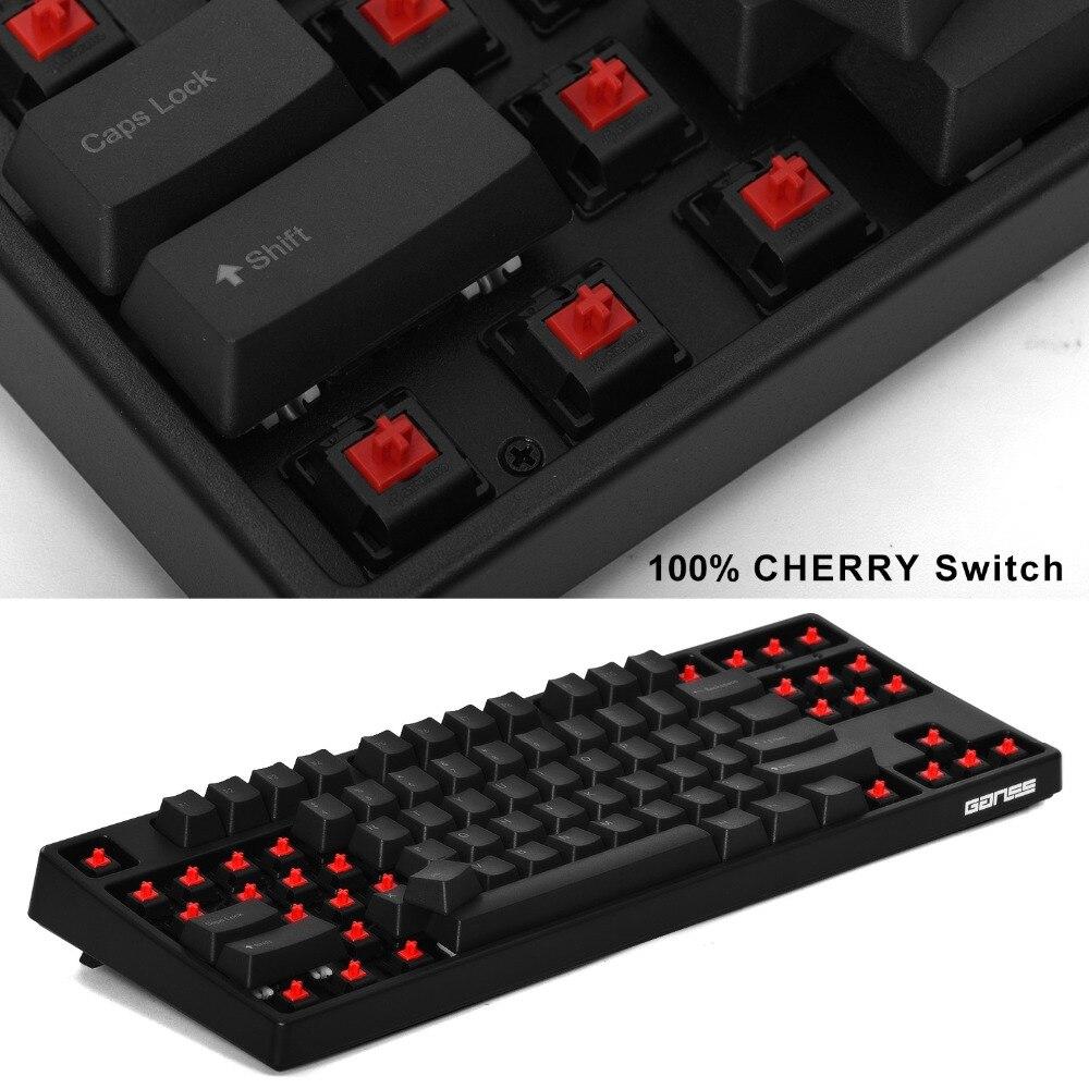 GANSS 87 touches Clavier De Jeu Mécanique avec [de Switches Cherry MX Red] Clavier de Jeu Filaire USB Pour pc de bureau Pour Ordinateur Portable