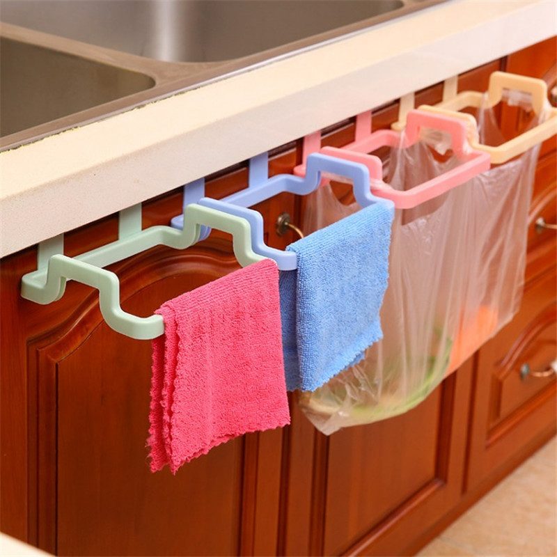 New Eco-friendly Kitchen Door Back Hanging Style Cabinet Stand Trash Garbage Bags Support Holder