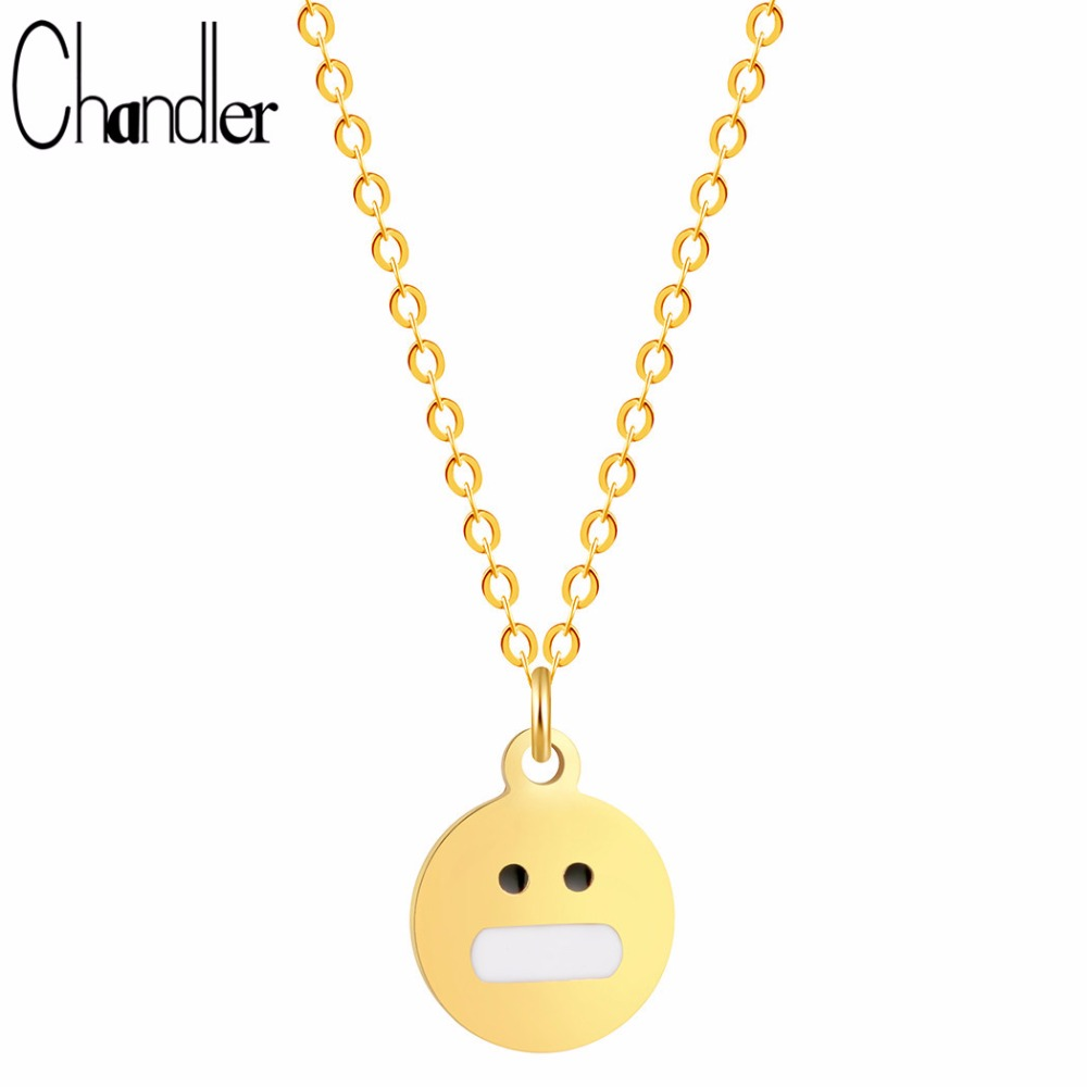 Chandler Silver Gold Color Plate Shut Up Face Cartoon Emoji Expression Necklaces For Kids Simple Simplism Emoticon Dainty Colier