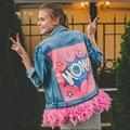 Otoño Chaqueta de Mezclilla de Las Mujeres Reales de Plumas de Color Rosa Nueva Moda Streetwear Desmontable Letras vaquero carta impresión Abrigos