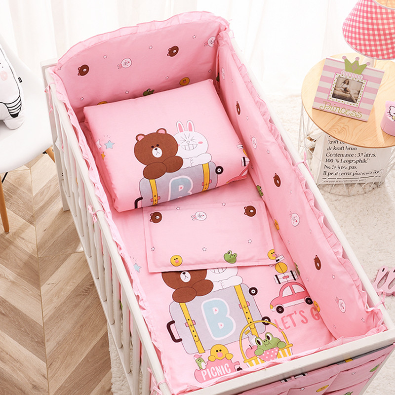 Baby Bedding Set Bumper Cotton Cartoon Animated Crib Newborns Cot Sheet Pillowcase Bed Linen Bed Hanging Bag Baby Bed Set 120*60