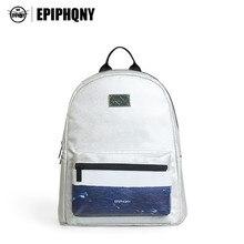 Epiphqny бренд серебристый белый кожаный рюкзак Для женщин Ocean 3D печати Рюкзаки волна свежего Колледж ветер небольшой мешок плеча девушка