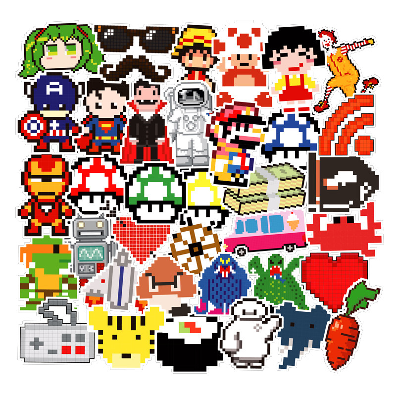 50 Pcs Mosaic Classic Role Pixel Series Stickers For Notebook Skateboard Bicycle Motorcycle DIY Waterproof Toy Decal Sticker F5