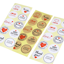 100pcs/lot Kawaii Stickers English Word Mixed Red Heart Round Adhesive Decorative Seal Sticker For Handmade Product Packaging