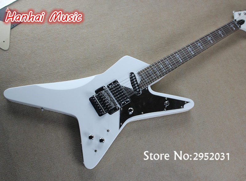 free shipping electric guitar 27 frets unusual shape floyd rose 2 open pickups cross fret marks. Black Bedroom Furniture Sets. Home Design Ideas