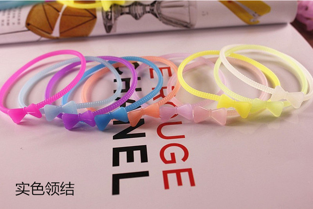 10pcs/lot Sweet Candy Cute Star Silicone Hair Rubber Bands Bracelets Night Luminous Bangle/ bracelet Girl Women Gift Mixed