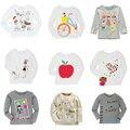 12 do Estilo Das Meninas Dos Meninos T-shirt Dos Miúdos T-shirt Do Bebê Da Menina do Menino camisas Cardigan Blusa Jaqueta Crianças Camisola de Manga Comprida 100% Algodão marca
