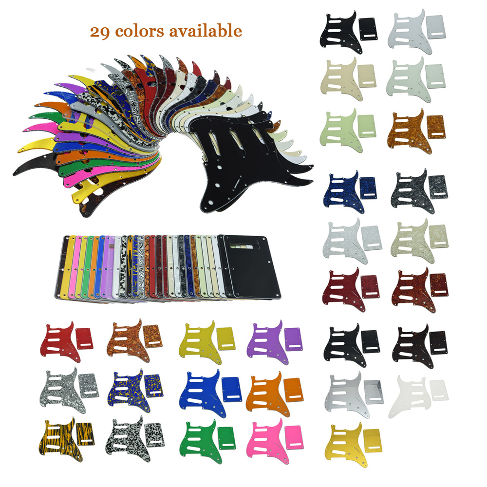 KAISH ST Strat Guitar Pickguard,Trem Cover and Screws SSS Various Colors kaish various colors st style hss guitar pickguard scratch plate trem cover screws