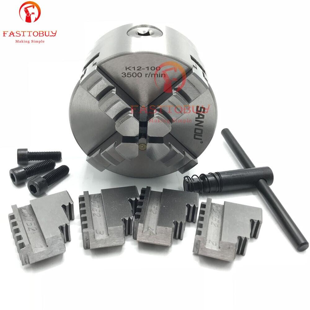 цена на 4 100mm 4 Jaw CNC Lathe Chuck Self-Centering K12-100 K12 100 Hardened Steel for Drilling Milling Machine