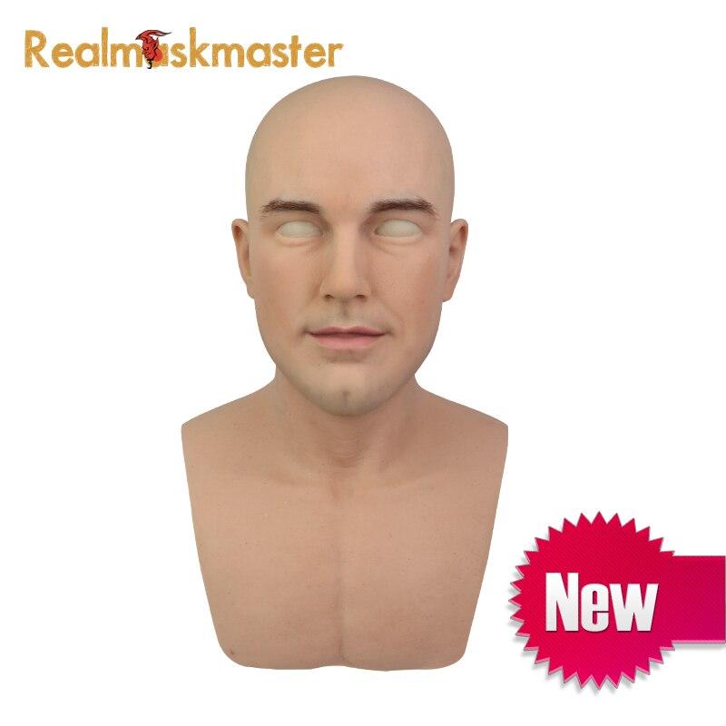 Realmaskmaster pele real do dia das bruxas masculino adulto realista silicone rosto cheio máscara de látex para o homem cosplay festa fetiche
