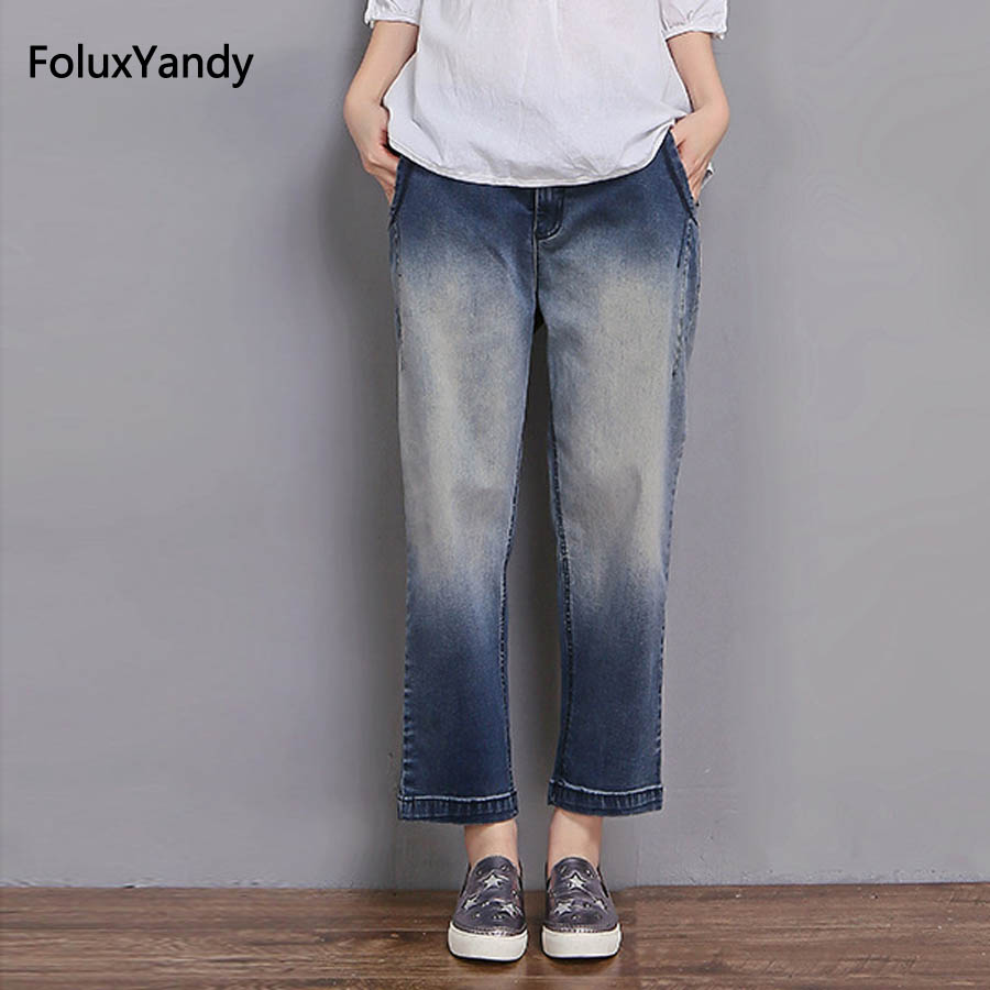 Wide Leg Jeans Women Plus Size 3 XL Brand New Female Loose Casual Bleached Denim Jeans Trousers Blue MYNZ107