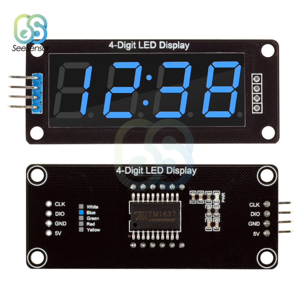 TM1637 0,56 Inch Digitale Uhr <font><b>LED</b></font> <font><b>Display</b></font> Rohr 4 Digit Dezimalstelle 7 <font><b>Segmente</b></font> <font><b>LED</b></font> Uhr Doppelte Punkte Modul Blau <font><b>Display</b></font> 0,56
