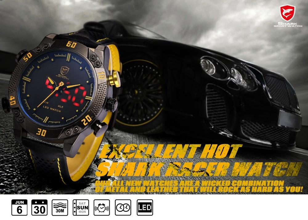 Topdudes.com - Top Men's Black Yellow Dial 3ATM Waterproof LED Quartz Digital Leather Band Dual Time Military Watches