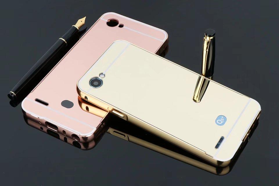 Роскошные Алюминий металла Рамки акриловые зеркало назад 2 в 1 съемный чехол для LG G6 мини сотовый телефон чехол для LG Q6