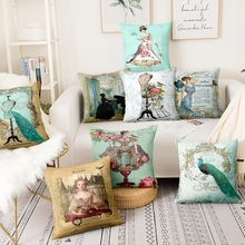 Barroco vintage arte lino fino funda de almohada clásica mujer estampado cojín decorativo decoración del hogar sofá cojines 45*45