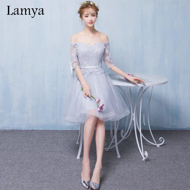 Lamya customizáveis curto rendas manga com barco pescoço vestidos de baile barato a line wedding party dress especial ocasião vestidos
