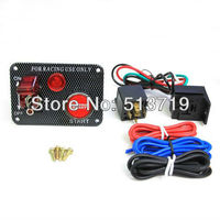 Free Shipping Carbon Fibre Ignition Toggle Switch Engine Start Push Starter Button Panel Kit