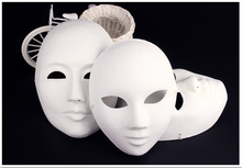 (20 pieces/lot) New blank paper match mask Men and women's party masks White color Full face 4 styles available