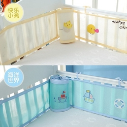 2pcs/set Breathable Summer Baby Bedding Bumper Cartoon Printing Mesh Safety Rails Cot Bumper Protector Baby Room Decor  ZT18