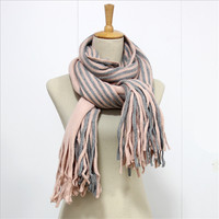 Fashion Striped Women Winter Scarf Tassels Outerdoor Warm Scarves For Lovers Bandana Shawls Echarpe Foulard Femme