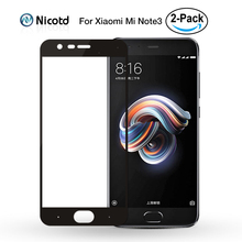 2 ชิ้น/ล็อตสำหรับ Xiao Mi Mi Note 3 กระจกนิรภัย Mi Note3 ป้องกันหน้าจอ 2.5D โค้งปกคลุมเต็มหน้าจอฟิล์ม xio Mi สำหรับ Xiao Mi หมายเหตุ 3