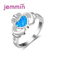 Jemmin New Create Particular Pretty Heart Ring Trendy Brand Jewelry for Women Hot 925 Sterling Silver Ring Female Finger Loop