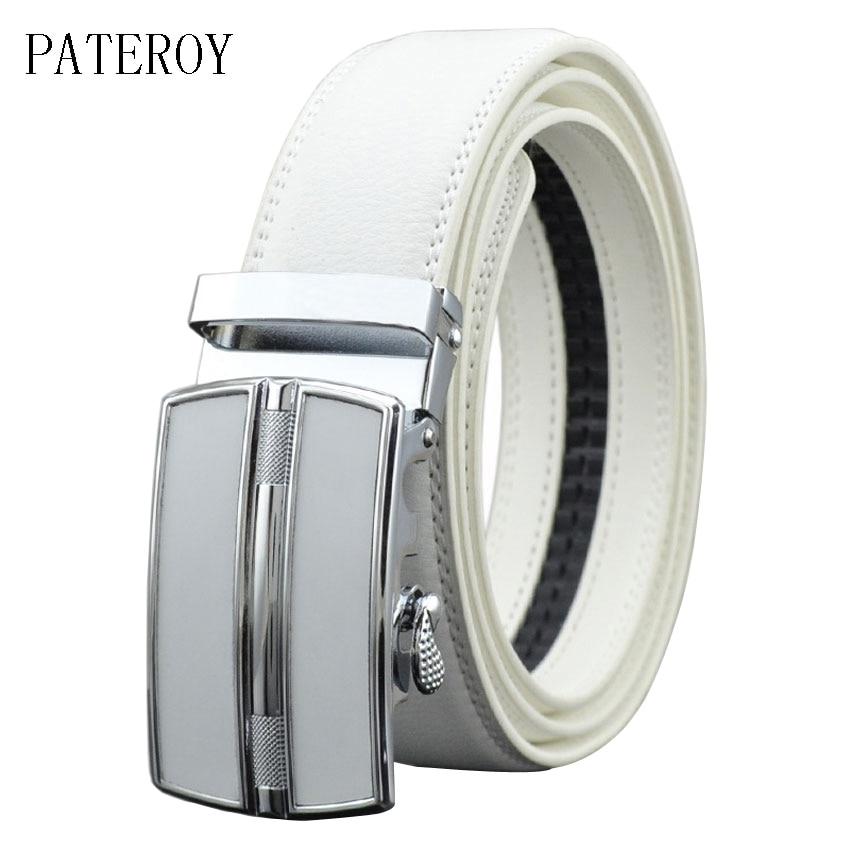 [PATEROY] حزام مصمم أحزمة الرجال جودة عالية أزياء هندسية المعادن التلقائي إبزيم جلد طبيعي فاخر حزام العلامة التجارية الأبيض