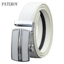PATEROY Belt Designer Belts Men High Quality Fashion Geometric Metal Automatic Buckle Genuine Leather Luxury Brand Belt White