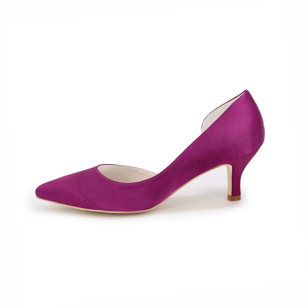 Chaussures Pour Femmes Soie Talon Plat Bout Rond Chaussures Plates Mariagechampagne / argent / Mauve / Bleu / Rouge / Rose / Blanc , purple , 38