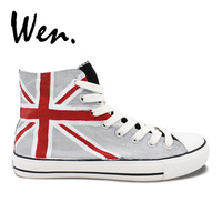 Wen Design Flag the Union Jack Hand Painted Sneakers Customized Men Women's Blue Grey High Top Canvas Clause Shoes for Presents
