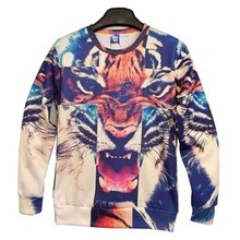 New arrival Fashion Men/Women Funny 3d sweatshirts printed tiger Leopard cross hoodies tops