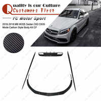 Carbon Fiber Body Kit 6pcs Fit For 2016-2018 MB W205 Sedan C63 C63S MC Style Front Lip Side Skirt Rear Diffuser