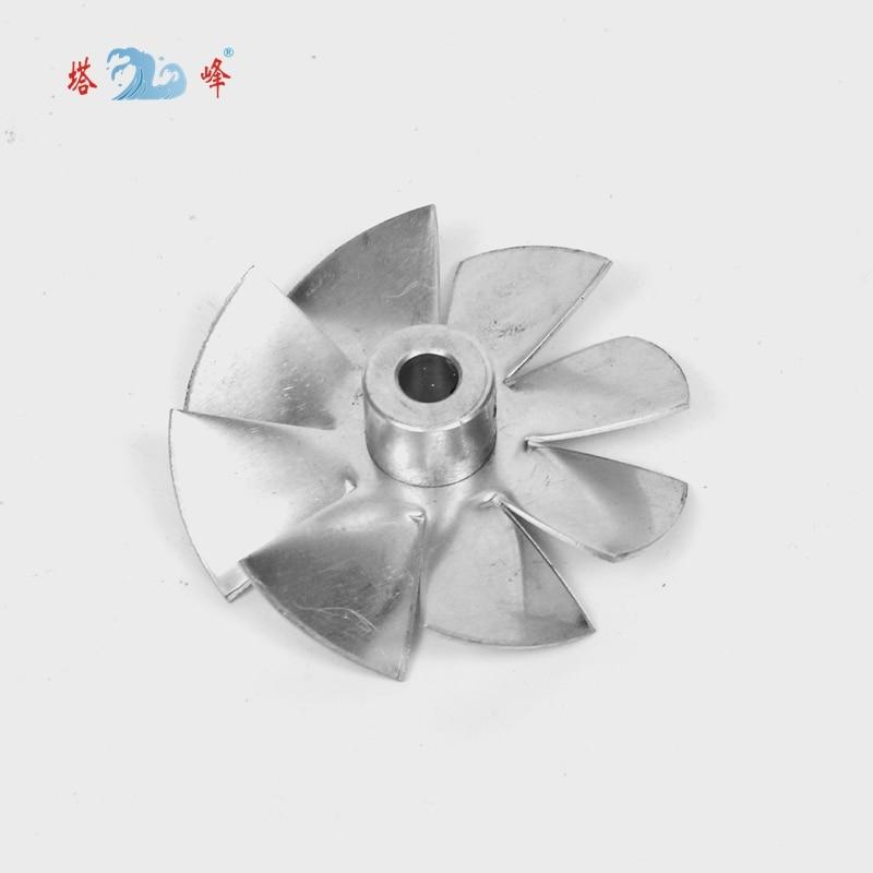 Small Aluminum High Temperature Cooling Fan Blade Metal Vane 70mm Diameter 6mm Shaft