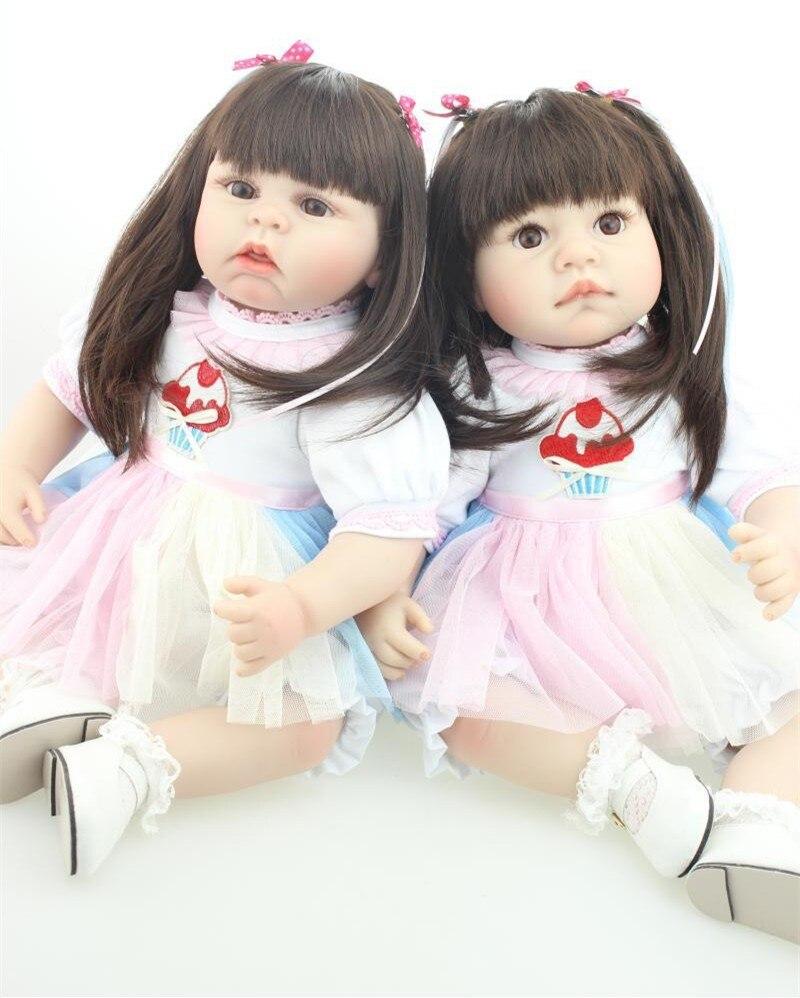 Ξ22 suave vinilo Reborn bebé gemelos muñecas para niños juguetes ...