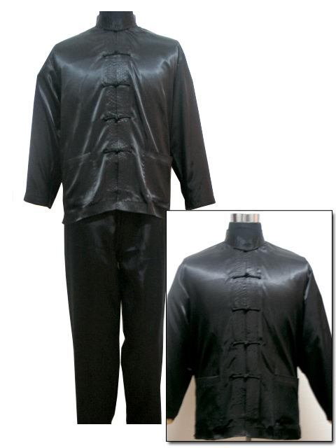 Black Traditional Chinese Men's Satin Wu Shu Uniform Long Sleeve Shirt & Pant Kung Fu Tai Chi Suit S M L XL XXL MS001