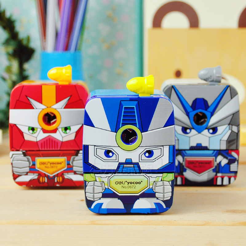 1 Pc Plastic Cartoon Roberto Pencil Sharpeners Transformers Hand Crank Pencil Cutting Machine School Stationery Deli 0672