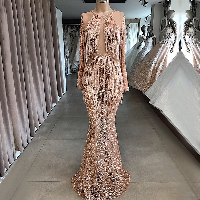 Luxury Long   Evening     Dress   2019 Lebanon Mermaid Long Sleeve Heavy Beaded Sequined Arab Dubai Women Formal   Evening   Gown