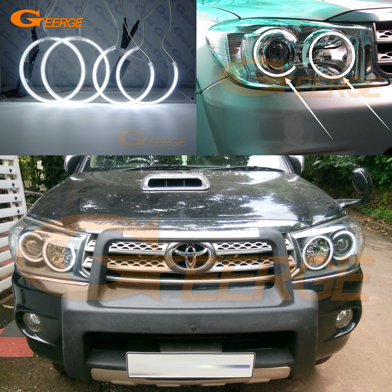 For Toyota FORTUNER 2008 2009 2010 Excellent Angel Eyes Ultra bright headlight illumination CCFL Angel Eyes kit Halo Ring free shipping ccfl angel eyes for corolla non projector halo ring corolla angel eyes for toyota