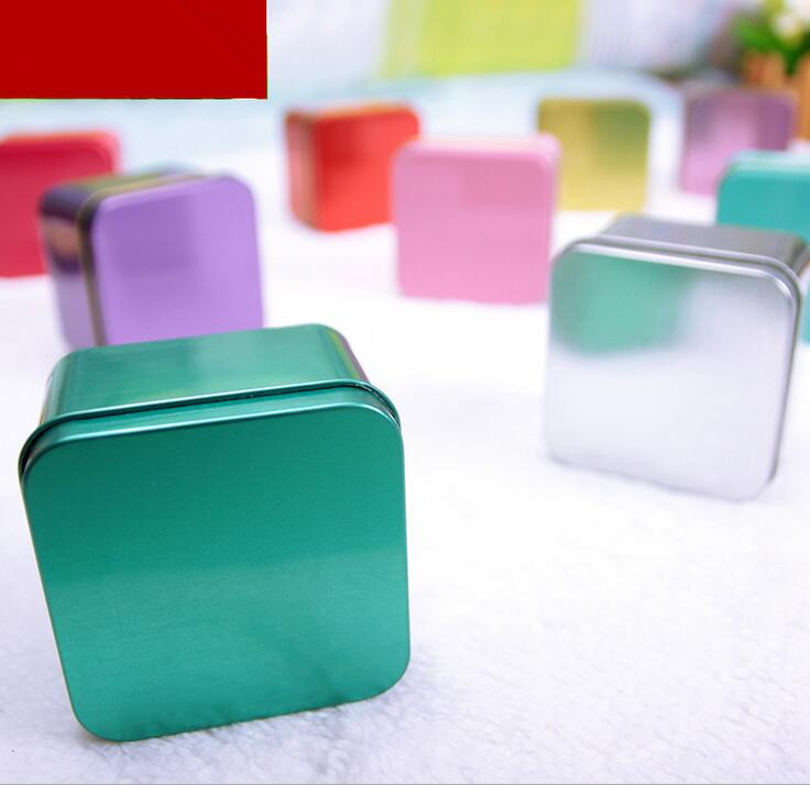 free Shipping 30g Square Tin Empty Bottle Jar Retail New Originales Refillable Tea Candy cookies Empty Packaging Containers